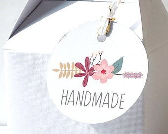 18 Handmade floral tags, gift tags, packaging supplies, craft supplies, handmade tags, soap tags, candle tags, baking tags, flower
