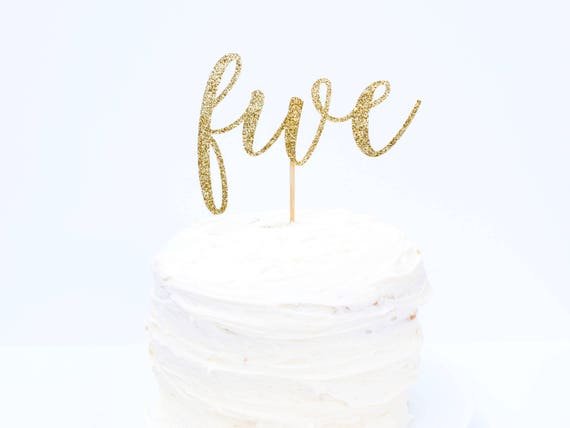 Five Cake Topper - Glitter - Fifth Birthday Party. Birthday Cake Topper. Smash Cake Topper. Birthday Party. 5 Cake Topper. 5th Birthday.