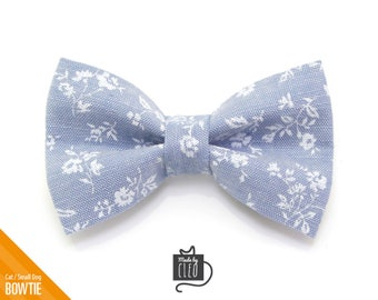 "Chambray Cat Bow Tie - ""Fairfield"" - Light Blue Floral Cat Collar Bow Tie / Kitten Bow / Small Dog Bowtie / Wedding / Removable (One Size)"