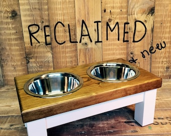 medium dog, double bowl dog table, raised dog bowl, dog bowls, raised pet feeder, chunky farmhouse style top in dark oak danish oil