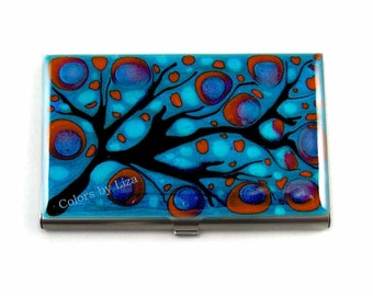 Business Card Case Hand Painted Enamel Turquoise and Red Blossom Inspired Meta Wallet Custom Colors and Personalized Options