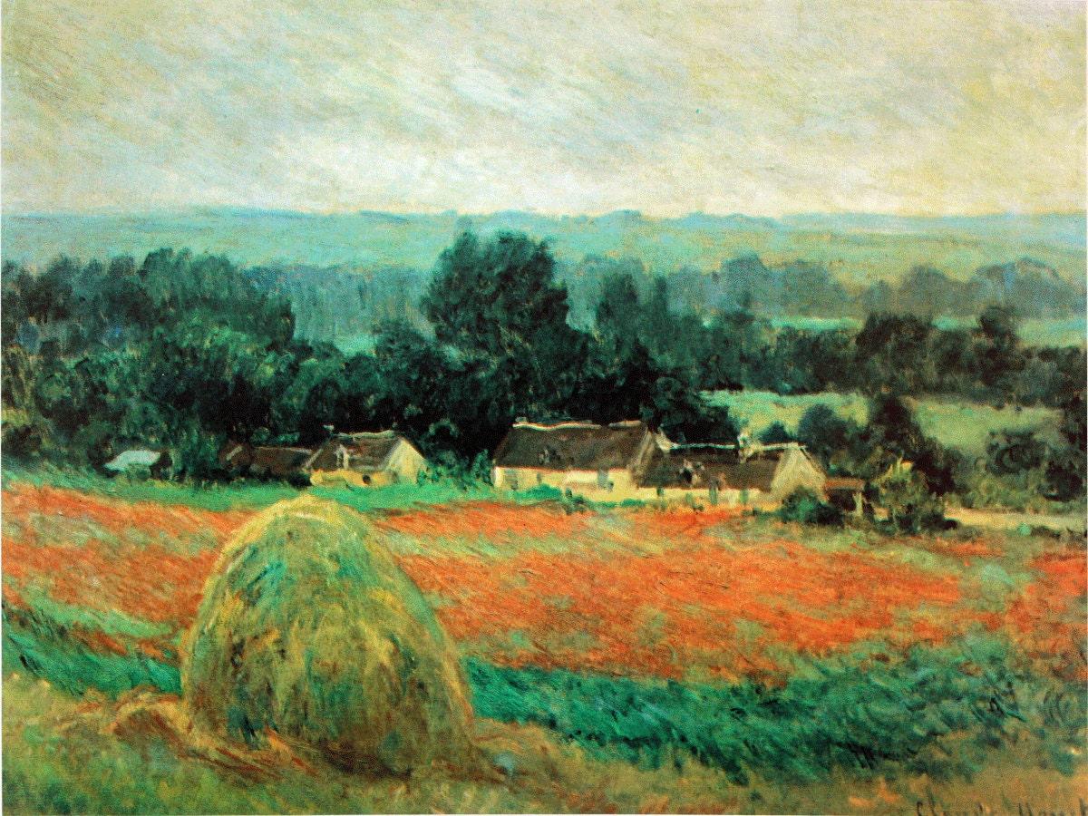 Landschaftsmalerei impressionismus  Impressionismus. Claude Monet. Heuschober in Giverny. Malerei.
