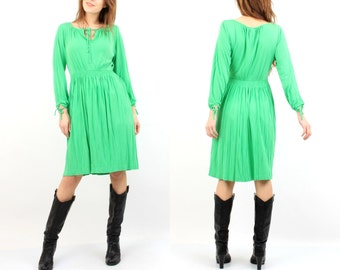 Vintage Green Dress / Polka Dot Dress / Marc Kehnen Dress / Green Dotted Dress / Long Sleeve Dress / Midi Dress