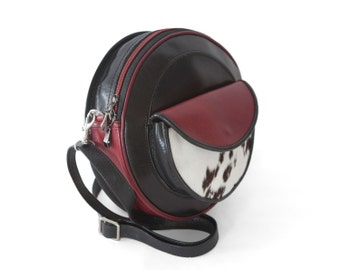 Calf hair and leather purse, round purse, black and red crossbody  - the Luna
