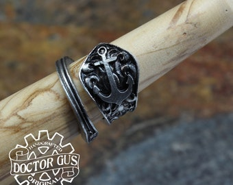 Anchor Ring - Adjustable - Wrap Style - Handcrafted by Doctor Gus - Beautiful Antique Inspired Ring