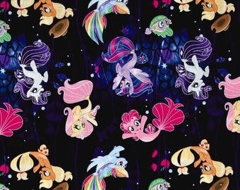Cartoon My Little pony Faraway Adventures Multi- My Little Pony Mermaid 100% cotton Fabric By The Yard (SC1051)