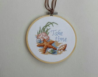 Completed cross stitch ornament, summer home decor, seashell cross stitch, take time, sea ornament.