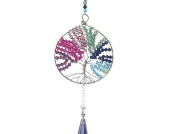 Rainbow sun catcher, tree of life, sun catcher, rainbow mobile, tree of life mobile, light catcher
