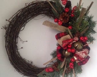 Christmas Wreath-Rustic Wreath-Bell Weath-Wreath with Bells-Barnwood Wreath-Wood Wreath