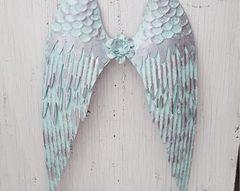 Large Blue and Silver Metal Angel Wings Wall Art Shabby Chic Rustic Metal Angel Wings Wall Decor