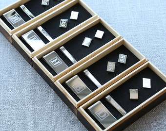 Groomsmen Gift, Personalized Cufflinks, Money Clip, Tie Clip Wood Box Set, Groomsman Gift Set, Mens Gift, Father Gift