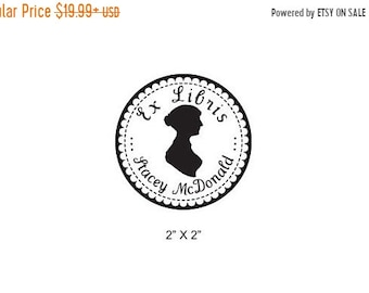 Mothers Day Sale Jane Austen Silhouette Personalized Ex Libris Bookplate Rubber Stamp I26