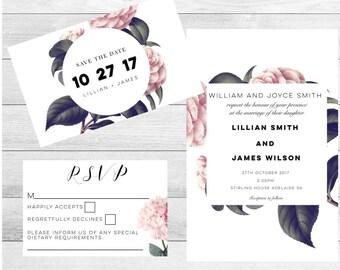 Botanical Wedding Invitations-Wedding Invitation set-Botanical Wedding Invitations-Invitation suite-Wedding Invite-Invitation set-Rustic