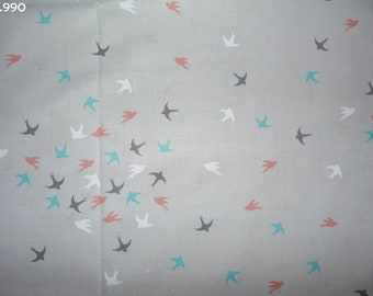 Fabric C990 swallows colorful 34x50cm coupon gray background