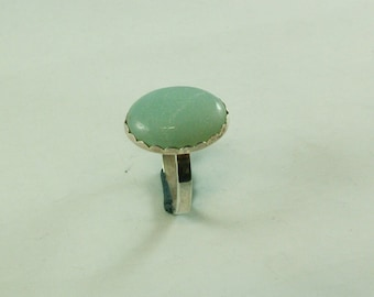 Silver ring with Amazonite gemstone of 18 x 13 mm in cartel setting