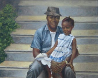 "Original Oil Portrait Painting Signed Lee Alban Black Father & Daughter ""Proudford's Dad"" Nationally Recognized Artist OPA"