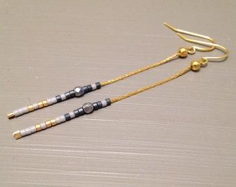 dangle chain earrings long dangle earrings Dangle Earrings Delicate Earrings Gold Silver Earrings bead Earrings Minimalist Earrings