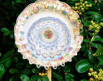Dolly • Yard Art • Glass Garden Flower • Vintage Repurposed China Floral Garden Decor • Shabby Chic • Upcycled