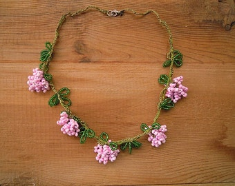 beaded necklace, pink and green