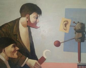 Curiosity. Modernist Surrealism Oil on Canvas.