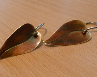 Brass and Sterling Silver Leaf Earrings OR Sterling Silver Leaf Earrings