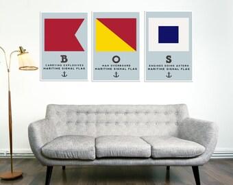 Boston Print, Art, Wall Art, Nautical Poster, Flag Art, Living Room Decor, Gift, Travel Art, Art Decor, Modern Art Print
