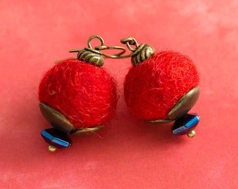 Large Red Felted Earrings with Metallic Cobalt Blue Beads and Antique Brass Tulip Bead Caps, Felt Ball Earrings, Felt Jewelry