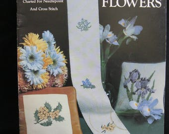 State Flowers, Charted for Needlepoint and Cross Stitch, Leisure Arts 127 from 1978, Carol Wilson Mansfield, 11 projects, colored charts
