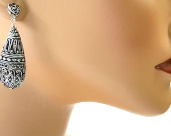 Silver Filigree Earrings, Statement Earrings, Antiqued Silver, Rose Earrings, Stud Earrings, Post Earrings, Lacy Filigree, Drop Earrings