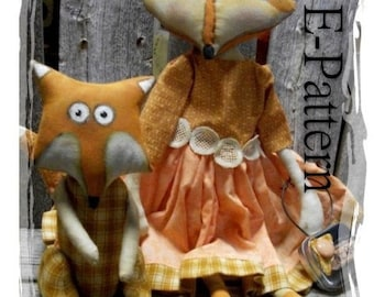 Primitive Doll Pattern Bright Eyed Fox Momma and Baby Primitive Cloth Doll pattern