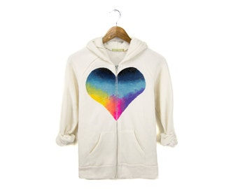 Rainbow Heart Breaker Hoodie - Fleece Long Sleeve Hooded Zip Sweatshirt in Heather Cream - Women's Size S-4XL