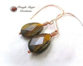 Tiger Eye Earrings, Honey Brown Gemstone, Earthy Jewelry for Women, Large TigerEye Stone Teardrop Faceted Briolettes, Copper Ear Wires E401A