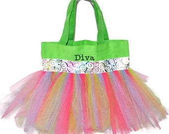 Tutu Bag, Dance Bag, Multi Colored Whimsical Ribbon,  Personalized Girl, Ballet Bag, Dance Class Bag, Party Favors Whimsical
