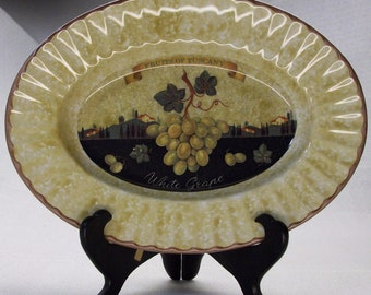 Fruits of Tuscany WHITE GRAPES Oval Serving Bowl Ceramica Due Torri Per Alimenti Made in Italy