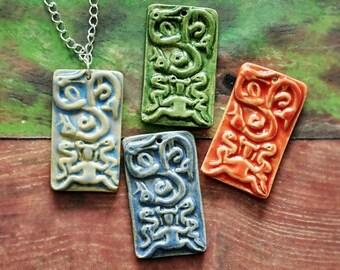 Celtic Jewelry, Lady of Beasts, Mistress of Animals, Ormgudinna Stone, Glazed Stoneware Pendant, Birthing Goddess, Celtic Goddess, Triskel
