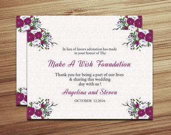 Printable Wedding Favor Donation Card Template | Floral Favor Donation | Editable Microsoft Word & Photoshop Template | WS-010