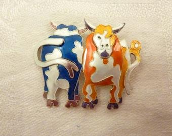 OBO - Vintage Enamel Cows Brooch