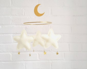 Star and Moon Baby mobile, Moon mobile, star, moon, mobile, Ivory baby mobile, nursery mobile, baby shower gift, Star Mobile, Baby Girl,