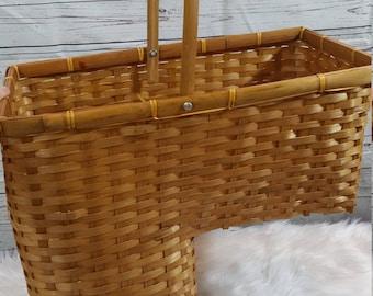 Vintage Stairs Basket Organization Wicker Brown Tan Stair Step