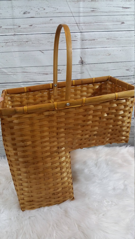 Vintage Stairs Basket Organization Wicker Brown Tan Stair Step