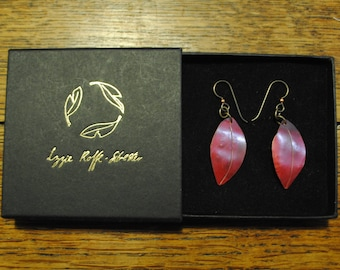 Gorgeous ruby red leaf earrings from reclaimed copper