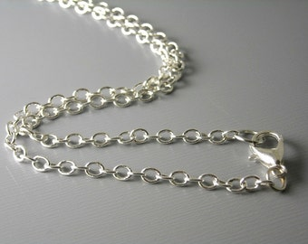 CHAIN-SILVER-4mmx3mm2 - Solid Silver Plated Brass Necklace - Choose your length