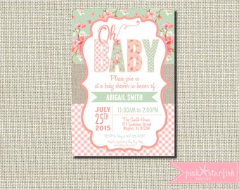 Delightful Baby Shower Invitation, Burlap Baby Shower Invitation, Shabby Chic ...