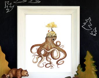 "Octopus Island - Headed Off - Whimsical Sea Creatures Art - 8""x10"" Watercolor Art Print"