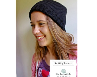 Easy Knit Beanie Pattern, Knit Hat Pattern, Instant PDF Download Knitting Pattern, Unisex Hat for Tweens, Teens and Adults
