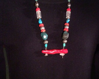 "26"" Art Necklace. Tibetan Red Coral, Turquoise, Coin & Sterling Silver, Glass, Crystal,  tiny Buddha amulet. free US ship 169.00"