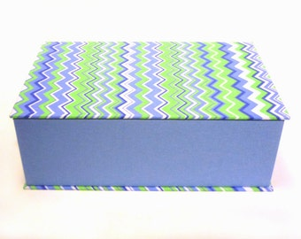 Blue fabric covered box Jewelry Box, cartonnage, treasure box, keepsake, item storage,