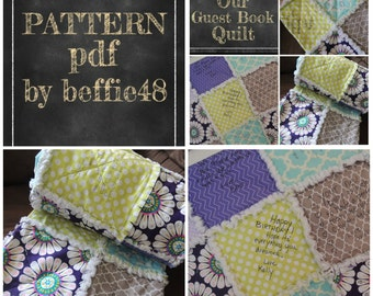 Guest Book, Quilt Pattern Tutorial, pdf. Special Event, Heirloom pdf Instant Download