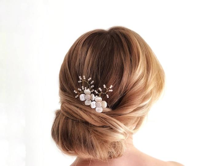 Enamel Flower Hair Pins, Bridal Hair Pin, Gold Pearl Headpiece, Ivory Flower Hair Piece, Wedding Hair Accessories Pin, Bridal Headpiece,