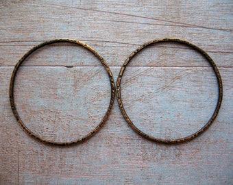 Blackened Notched Brass Hoop Findings - 1 Pair - 35mm